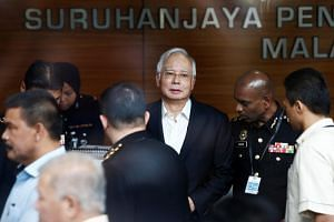 Former Malaysian prime minister Najib Razak arriving at the Malaysian Anti-Corruption Commission headquarters in Putrajaya on May 24, 2018, to give a statement.