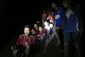 A screengrab from footage released by The Royal Thai Navy, on July 2, 2018, shows the missing children inside the Tham Luang cave of Khun Nam Nang Non Forest Park in the Mae Sai district of Chiang Rai province.