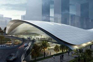 An artist's impression of the High Speed Rail Terminal in Jurong East.