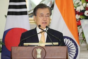 South Korean President Moon Jae-in at a joint press conference with India's Prime Minister Narendra Modi (not pictured) after holding summit talks at Hyderabad House in New Delhi, India, on July 10, 2018.
