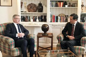 Trade and Industry Minister Chan Chun Sing (right) with EUSFTA Rapporteur David Martin, on July 11, 2018. Mr Chan said his visit to Brussels comes at a critical juncture also because of rising protectionism around the world.