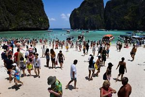 Maya Bay on Phi Phi Island, which has been closed down by authorities for four months to give the island time to recover from environmental degradation caused by constant tourist traffic.