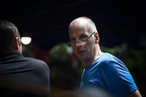 British cave diver Richard Stanton at a meeting at the command centre near Tham Luang cave on July 5, 2018, during a rescue operation for 12 boys and their football coach trapped in the cave.