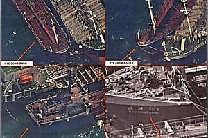 Satellite images showing what the US Treasury Department says is the transfer of refined petroleum between an unidentified ship and the North Korean ship Rye Song Gang 1 in October 2017.