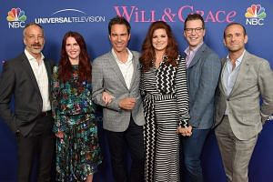 From left: Producer and creator David Kohan, actress Megan Mullally, actor Eric McCormack, actress Debra Messing, actor Sean Hayes and producer and creator Max Mutchnick at the NBC Universal Will & Grace FYC event in Los Angeles, California, on June