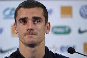 France's Antoine Griezmann during the press conference.