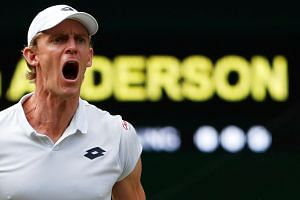 South Africa's Kevin Anderson reacts during his semi-final match against John Isner of the US.