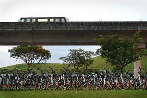Rows of oBikes at a field in Sengkang. The bicycle-sharing firm has exited the Singapore market, saying it is unable to meet new licensing requirements. The writer believes that given the potential advantages of the bike-sharing industry, regulators
