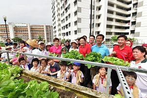 Education Minister Ong Ye Kung (third from right), National Development Minister Lawrence Wong (fourth from right) and Manpower Minister Josephine Teo (in pink) with Jurong GRC MP Ang Wei Neng (second from right), residents and PCF kindergarten pupil