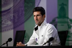Serbia's Novak Djokovic in a press conference following his men's singles victory on the thirteenth day of the 2018 Wimbledon Championships at The All England Lawn Tennis Club in Wimbledon, southwest London, on July 15, 2018.