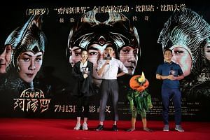 (From far left) Actors Zhang Yishang, Leo Wu and director Zhang Peng at a promotional event for Asura.