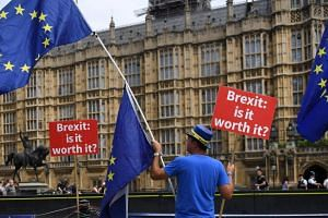 An anti-Brexit campaigner outside the British Houses of Parliament in London, Britain, on July 18, 2018.