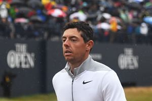 Rory McIlroy after completing the 18th in the second round of the British Open.