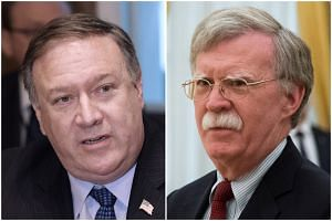Officials said the campaign, supported by Secretary of State Mike Pompeo (left) and national security adviser John Bolton, is meant to work in concert with a push to economically throttle Iran.