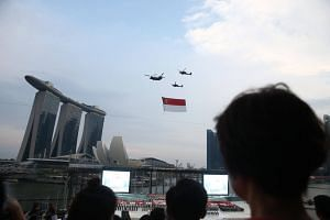 The Singapore Flag flypast during the National Day Parade NE show 1, on July 7, 2018.