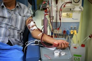 File photo showing a patient undergoing dialysis at the Kidney Dialysis Foundation Bishan Centre, on March 8, 2018.