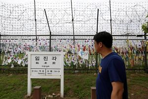 A South Korean visits the Imjingak park near the Demilitarized Zone in Paju, South Korea, on July 25, 2018.