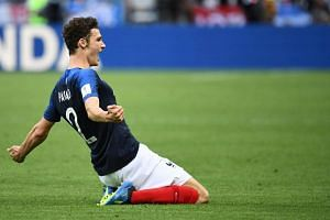 France's defender Benjamin Pavard celebrates after scoring their second goal during the Russia 2018 World Cup round of 16 football match between France and Argentina at the Kazan Arena in Kazan on June 30, 2018.