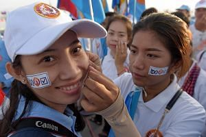 Supporters of the Cambodian People's Party during the final campaign rally in Phnom Penh.