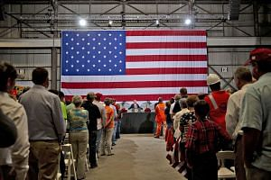 US President Donald Trump speaking at the US Steel Corp Granite City Works facility in Granite City, Illinois, last Thursday. According to the Associated Press, he trumpeted the renewed success of the steel mill, pushing back against criticism of his