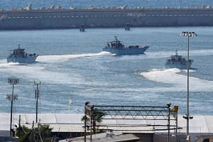 Israeli navy ships at the military port of Ashdod, southern Israel, on July 29, 2018.