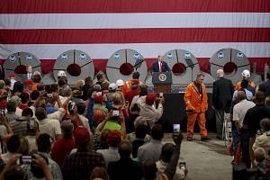 President Donald Trump speaks at U.S. Steel's Granite City Works plant in Granite City, Illinois, on July 26, 2018.
