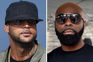 French rappers Booba (left) and Kaaris were arrested after a fight that also involved members of their entourage.