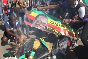 Protesters burning banners of Zimbabwean president Emmerson Mnangagwa in Harare.