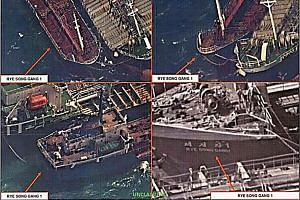 Satellite images provided by the US Treasury Department showing what the Treasury Department says is the transfer of refined petroleum between an unidentified ship and the North Korean ship Rye Song Gang 1, in October 2017.