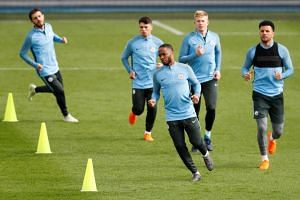 Manchester City players training at the City Football Academy in Manchester on April 9, 2018.