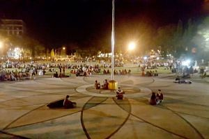 Residents spending the night on the town square in Mataram, on Aug 6, 2018, after a powerful earthquake struck Lombok.