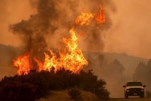 Flames leap above a vehicle on High Valley Road as the Ranch Fire, part of the Mendocino Complex Fire, burns near Clearlake Oaks, California, on Aug 5, 2018.