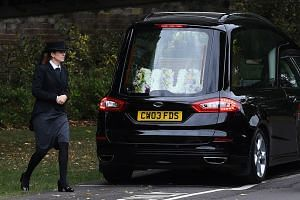 The casket of Novichok victim Dawn Sturgess arrives at Salisbury Crematorium in Salisbury, Wiltshire.