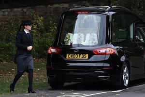 The casket of Novichok victim Dawn Sturgess arrives at Salisbury Crematorium in Salisbury, Wiltshire.