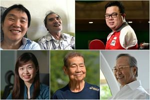 (Clockwise from top left) Mr Yap Tat Ming, 48, and his mentor and friend Mr Richard Lim; para-paddler Jason Chee, Dr Tan Cheng Bock, marathon runner Chan Meng Hui, and Member of Parliament for MacPherson Tin Pei Ling.