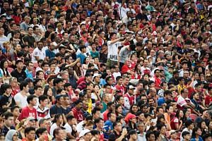 Fans at the International Champions Cup match between Arsenal and Paris Saint-Germain at the National Stadium on July 28, 2018.
