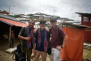 At the Rohingya camps in Cox's Bazar, Bangladesh - to capture the story behind the story of the Rohingya crisis - are The Sunday Times team of (from left) Rahul Pathak, Pradip Kumar Sikdar and Kua Chee Siong.