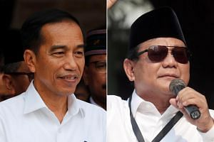Indonesian President Joko Widodo (left) outnumbers his only challenger on Instagram eight-to-one, while Mr Prabowo Subianto has about one million more followers than Jokowi on Facebook.