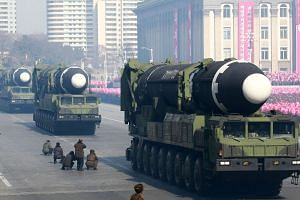 The Hwasong-15 ballistic missiles are seen during the military parade to mark the 70th anniversary of the Korean People's Army at Kim Il Sung Square in Pyongyang, on Feb 8.
