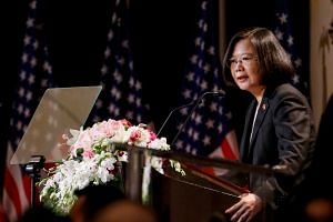 Taiwan President Tsai Ing-wen speaks at the Los Angeles Overseas Chinese Banquet during her visit in Los Angeles, on Aug 12, 2018.