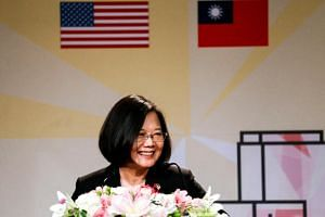Taiwanese President Tsai Ing-wen speaking at the Los Angeles Overseas Chinese Banquet during a visit to Los Angeles, California, on Aug 12, 2018.