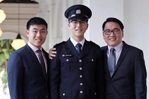 President's Scholarship recipient Stefan Liew Jing Rui (centre) with his father Mr Raymond Liew (right), 45, and brother Mr Donovan Liew, 22.
