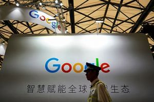 A Google sign is seen during the China Digital Entertainment Expo and Conference (ChinaJoy) in Shanghai, China, on Aug 3, 2018.
