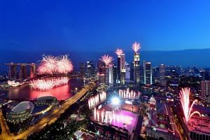 Fireworks at the Padang and Marina Bay area during the National Day Parade to celebrate Singapore's 50th birthday on Aug 9, 2015.