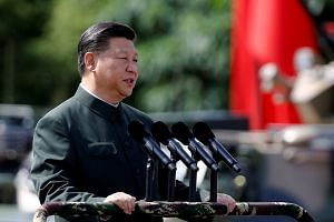 Chinese President Xi Jinping addressing the People's Liberation Army soldiers at the Hong Kong Garrison on June 30, 2017. Mr Xi said China's military needed to resist the