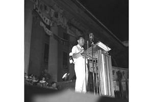 Then prime minister-designate Lee Kuan Yew speaking during a People's Action Party rally at the Padang on June 3, 1959.