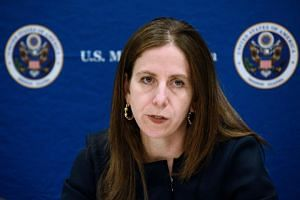 Sigal Mandelker, US Treasury Under Secretary for Terrorism and Financial Intelligence, addresses a press conference at the US Embassy in Kampala on June 11, 2018.