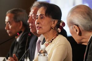 Myanmar's de facto leader Aung San Suu Kyi speaking at the 43rd Singapore Lecture organised by the ISEAS-Yusof Ishak Institute on Aug 21, 2018.