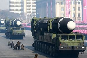 Hwasong-15 ballistic missiles on display during a military parade to mark the 70th anniversary of the Korean People's Army at Kim Il Sung Square in Pyongyang, on Feb 9, 2018.