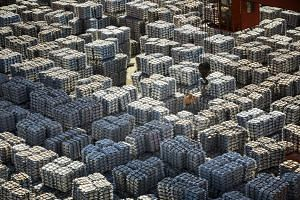 Bundles of aluminium ingots at a Chinese stockyard in Wuxi in the country's southern Jiangsu province. The latest round of tariffs took effect amid two days of trade talks in Washington between mid-level officials from both sides, but US President Do